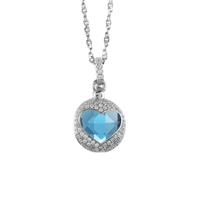 Necklace with heart of retractable zircons and crystal blue