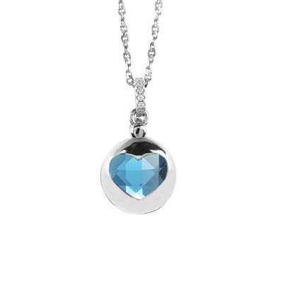 Necklace with retractable heart and crystal blue