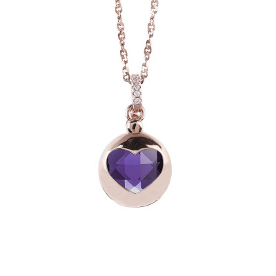 Necklace color pink gold with retractable heart and crystal Tanzanite