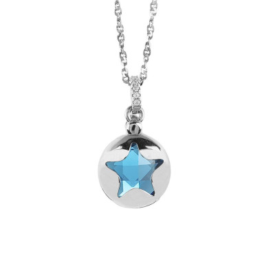 Necklace with retractable star and crystal blue