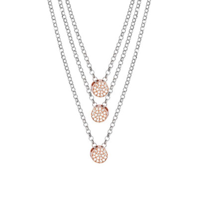 Multi-Strand necklace bicolor with zircons