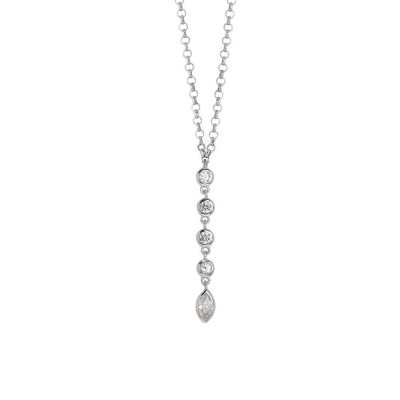 Necklace with a pendant of zircons diamond cut
