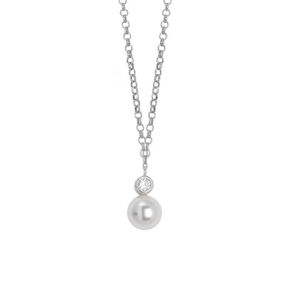 Necklace with a pendant of zircon and Swarovski pearl