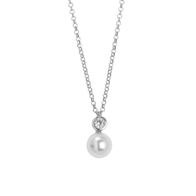Necklace with a pendant of zircon diamond cut and Swarovski pearl