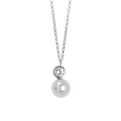 Necklace in silver with a pendant of zircon diamond cut and Swarovski pearl