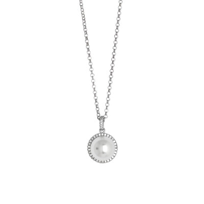 Necklace with pearl Swarovski on pavèdi zircons