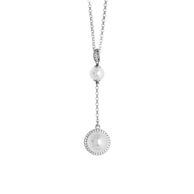 Necklace with a pendant in swarovski beads and zircons