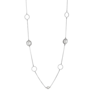 Long necklace with Swarovski beads and zircons