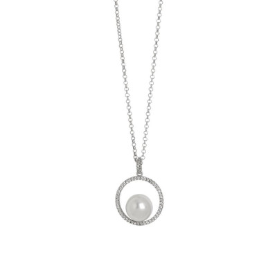 Necklace with circular pendant with zircons and Swarovski pearl