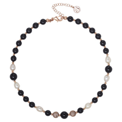 Necklace with natural pearls and obsidian