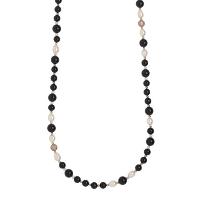 Long necklace with natural pearls and obsidian