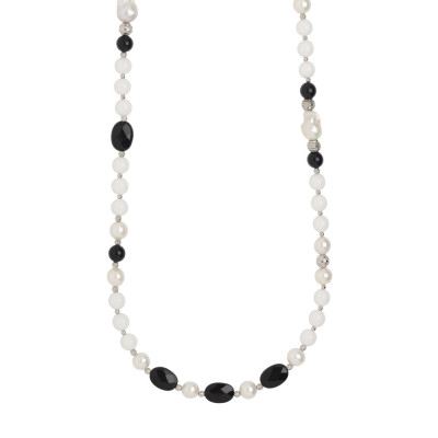 Long necklace with natural pearls, obsidian and white agate