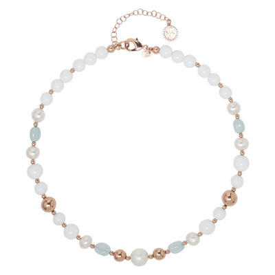 Necklace with natural pearls, sea water and white agate