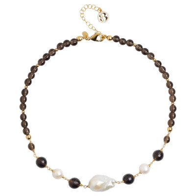 Necklace with fum quartz and natural pearls