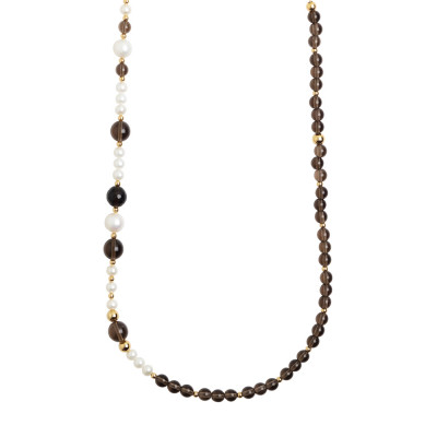 Long necklace with smoky quartz and natural pearls