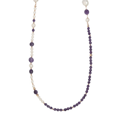 Long necklace with amethyst and natural pearls