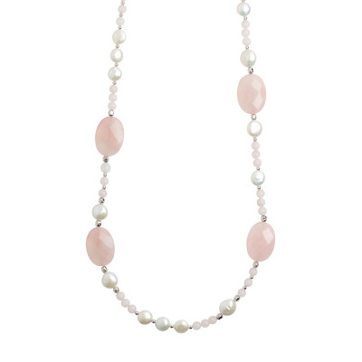 Long necklace with natural pearls and faceted rose quartz