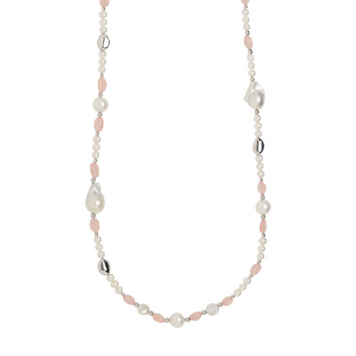 Long necklace with natural pearls alternated with rose quartz