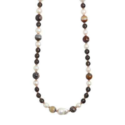 Long necklace with natural pearls, mix brown agate and smoky quartz