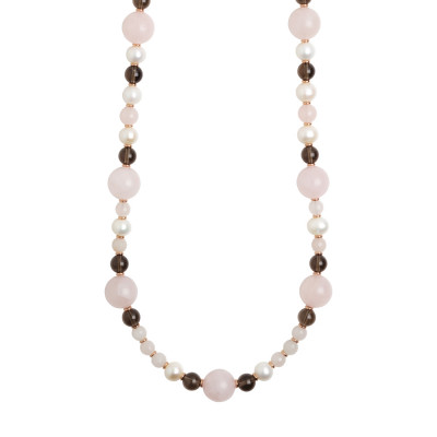 Long necklace with natural pearls, smoky quartz and rose quartz