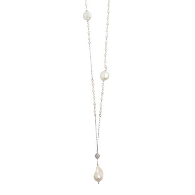 Long necklace with zircon and natural pearl pendant