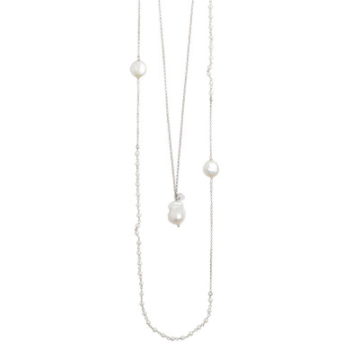 Two-strand rhodium-plated necklace with natural round and baroque pearls.