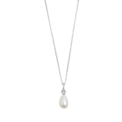 Short necklace with zircon and baroque pearl pendant
