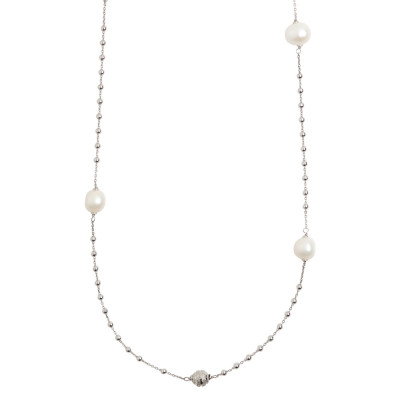 Rosary long necklace with natural pearls