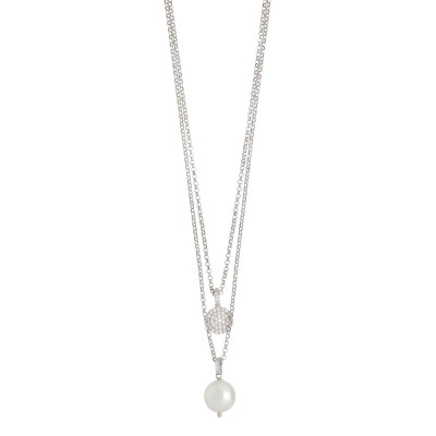 Two strand necklace with zircon and natural stone pendant