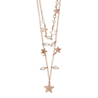 Two-strand rose gold plated necklace with dangling natural stars and pearls