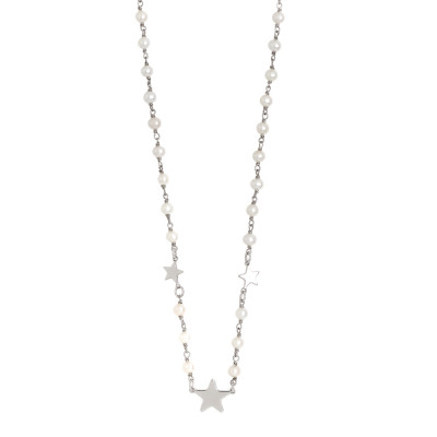 Necklace with natural pearls and three stars