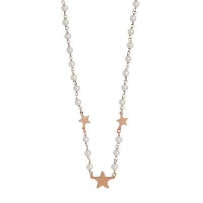 Rose gold plated necklace with natural pearls and three stars