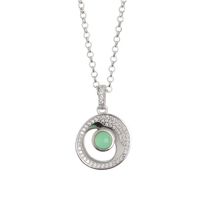 Short necklace with pendant eclipse of moon and crystal green water