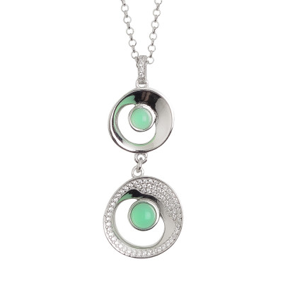 Necklace with double moon eclipse pendant and green crystal water