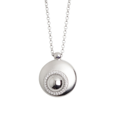 Necklace with convex pendant moon eclipse