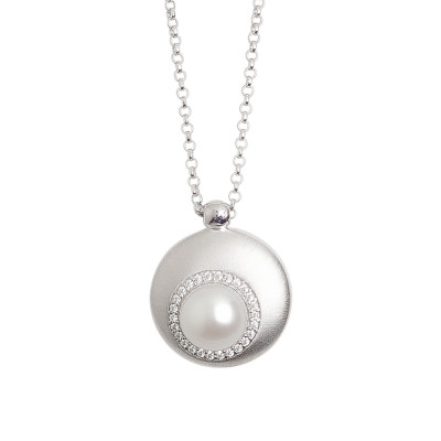 Necklace with convex pendant moon eclipse and natural pearl