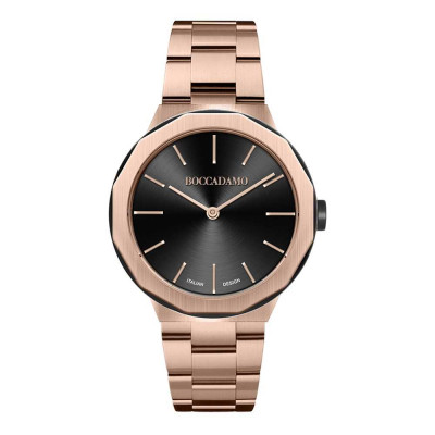Watch two hands in rose gold plated steel