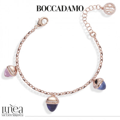 Bracelet with amethyst, sapphire, morganite and zircon colored crystals