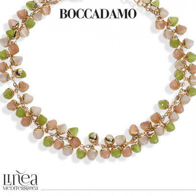 Necklace with decoration of pyramidal crystals in carnelian, olivine and moonstone