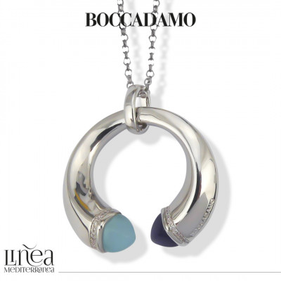 Necklace with aquamilk crystals, tanzanite and zircons