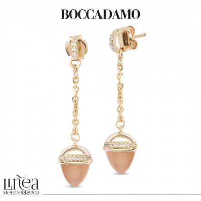 Earrings with carnelian-colored pendant crystal and zircons