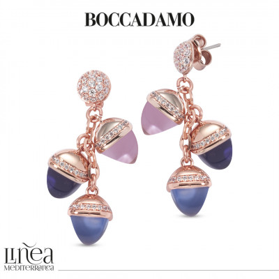 Rose gold plated earrings with pendant pyramidal crystals and zircons
