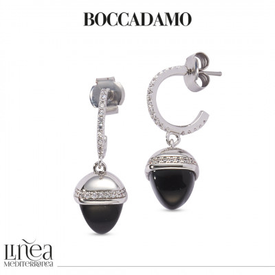 Crescent earrings of cubic zirconia and onyx-colored pyramidal crystal