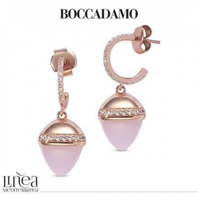 Crescent earrings with cubic zirconia and rose quartz colored pyramidal crystal