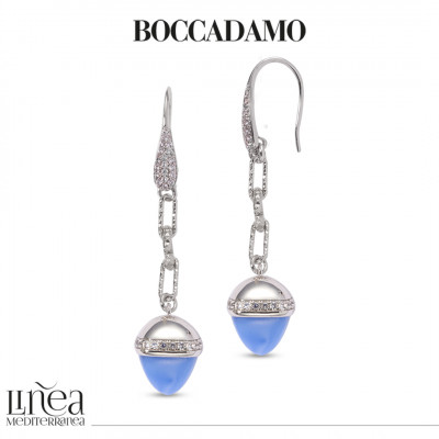 Hook earrings of zircons with pyramidal pendant in light blue chalcedony