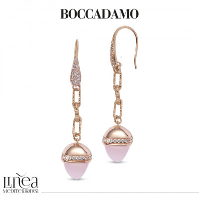 Hook earrings with cubic zirconia and pyramidal pendant in rose quartz color