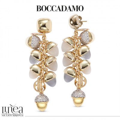 Earrings with tuft of mother-of-pearl colored pyramidal crystals and gray cat-like agate