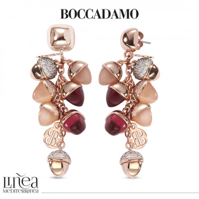 Earrings with tuft of carnelian and ruby colored pyramidal crystals