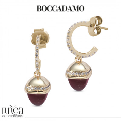 Zirconia crescent earrings with ruby-colored pyramidal crystal and zircons