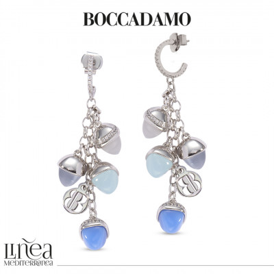 Crescent earrings of zircons and tuft of mother-of-pearl colored pyramidal crystals, gray cat-like agate, aquamilk and blue chalcedony